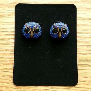 NWOT Betsey Johnson Owl Rhinestone Earrings